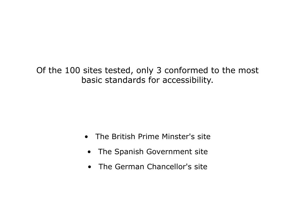 Of the 100 sites tested, only 3 conformed to the most basic standards for accessibility.