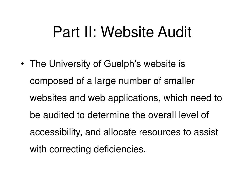 Part II: Website Audit
