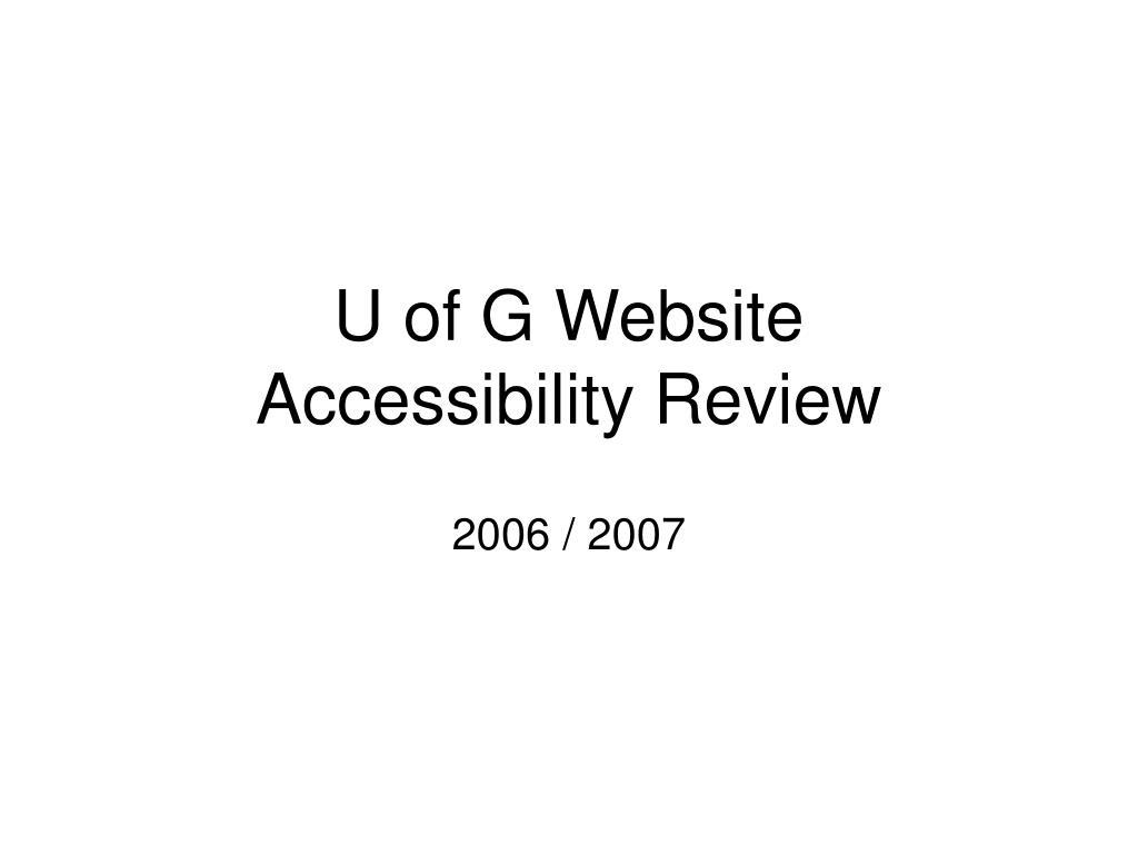 U of G Website