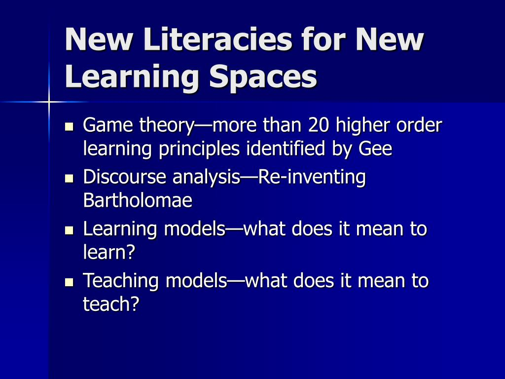 New Literacies for New Learning Spaces