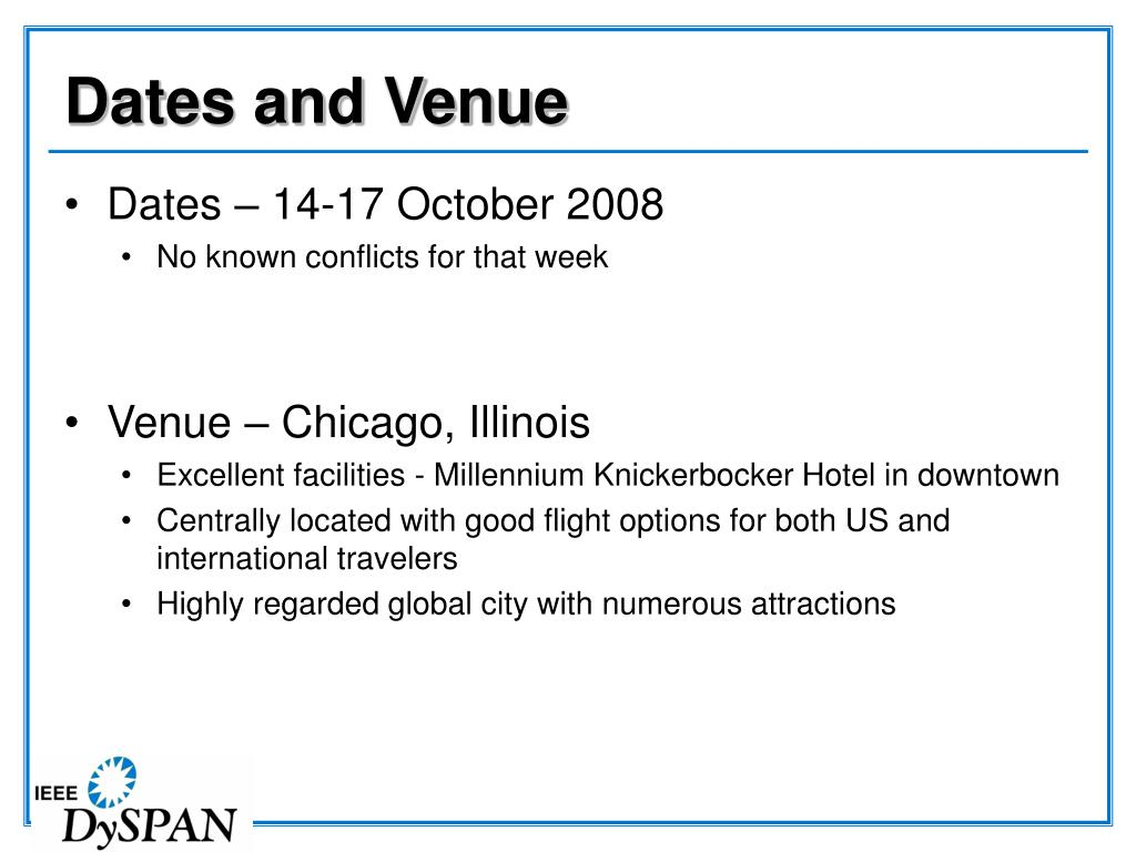 Dates and Venue