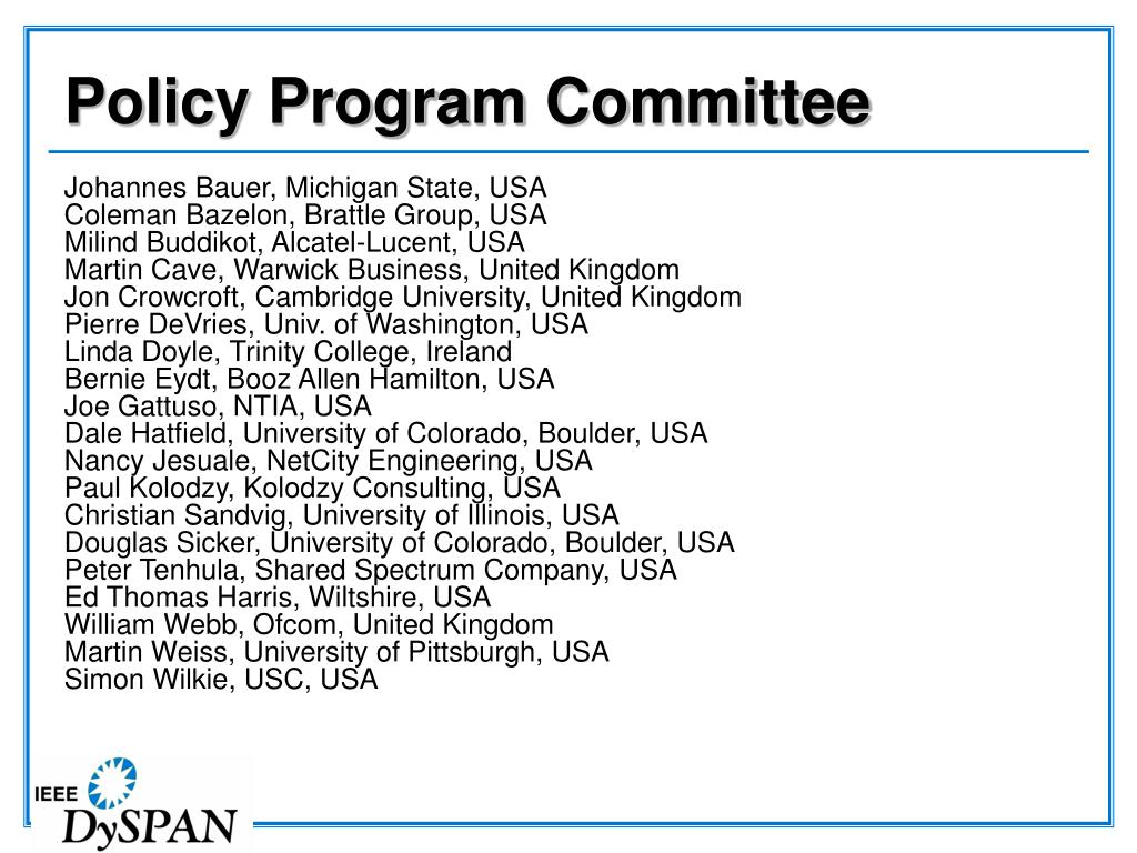 Policy Program Committee