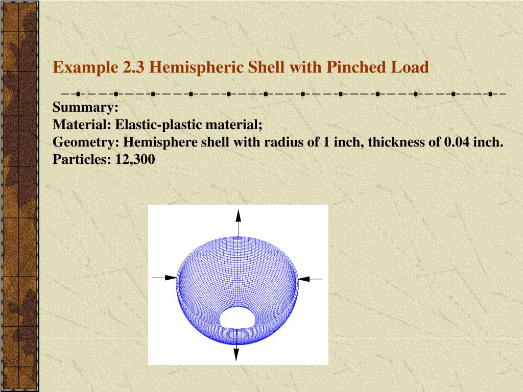 Example 2.3 Hemispheric Shell with Pinched Load