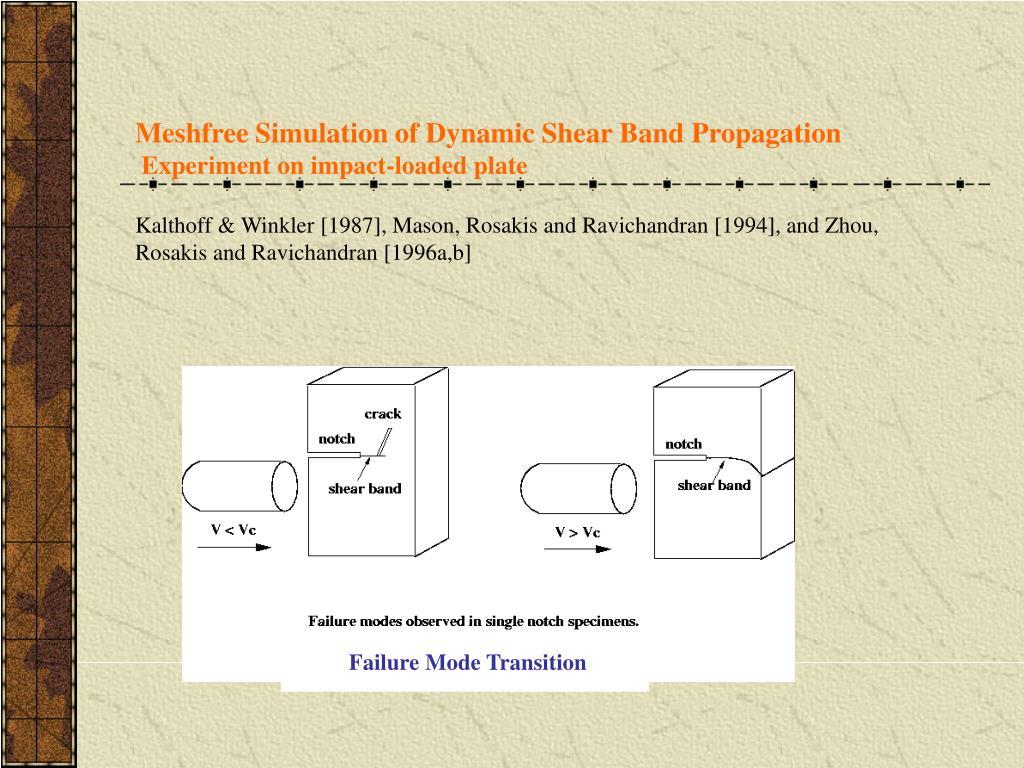 Meshfree Simulation of Dynamic Shear Band Propagation