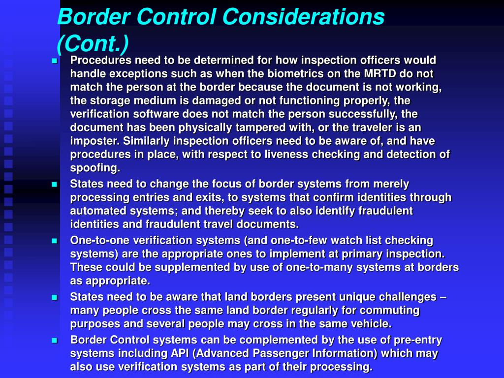 Border Control Considerations (Cont.)