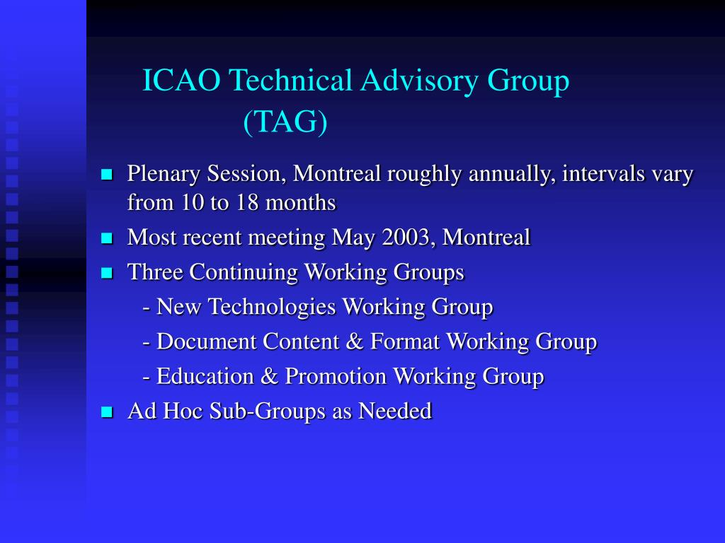 ICAO Technical Advisory Group    				(TAG)