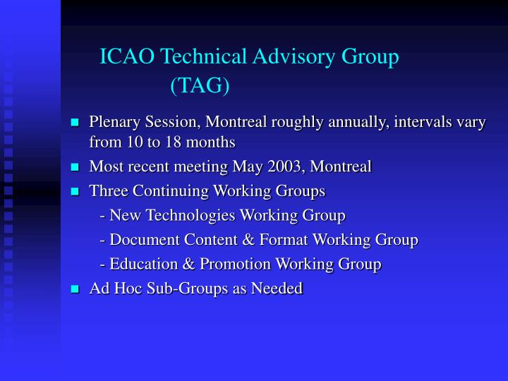 Icao technical advisory group tag
