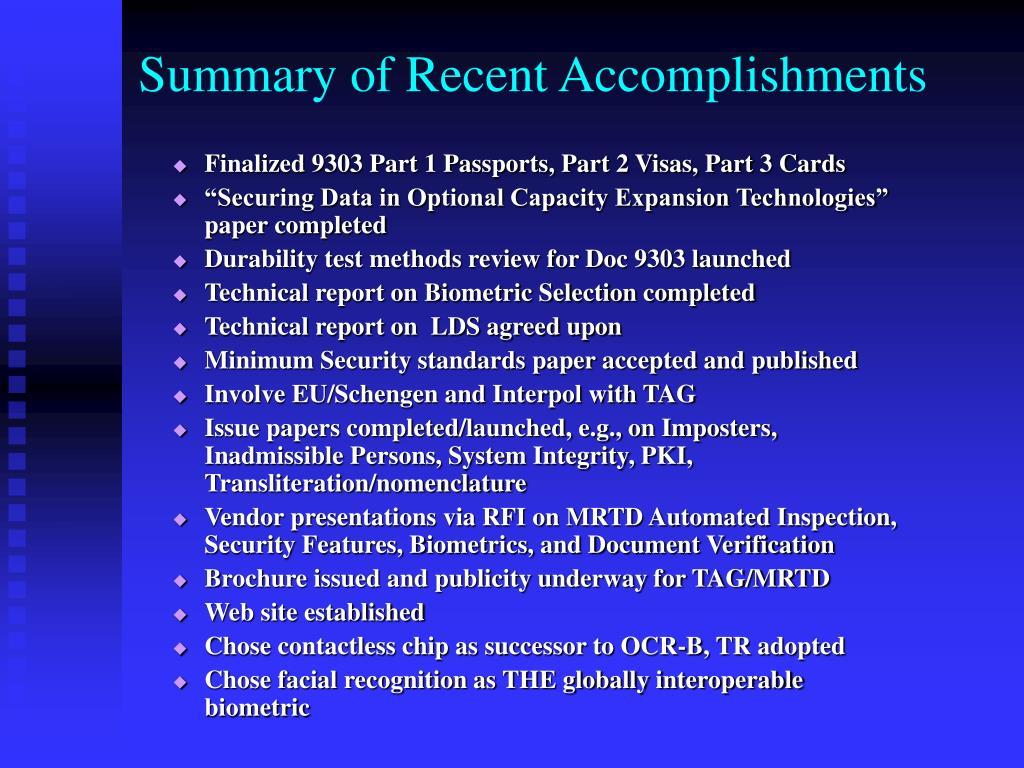 Summary of Recent Accomplishments