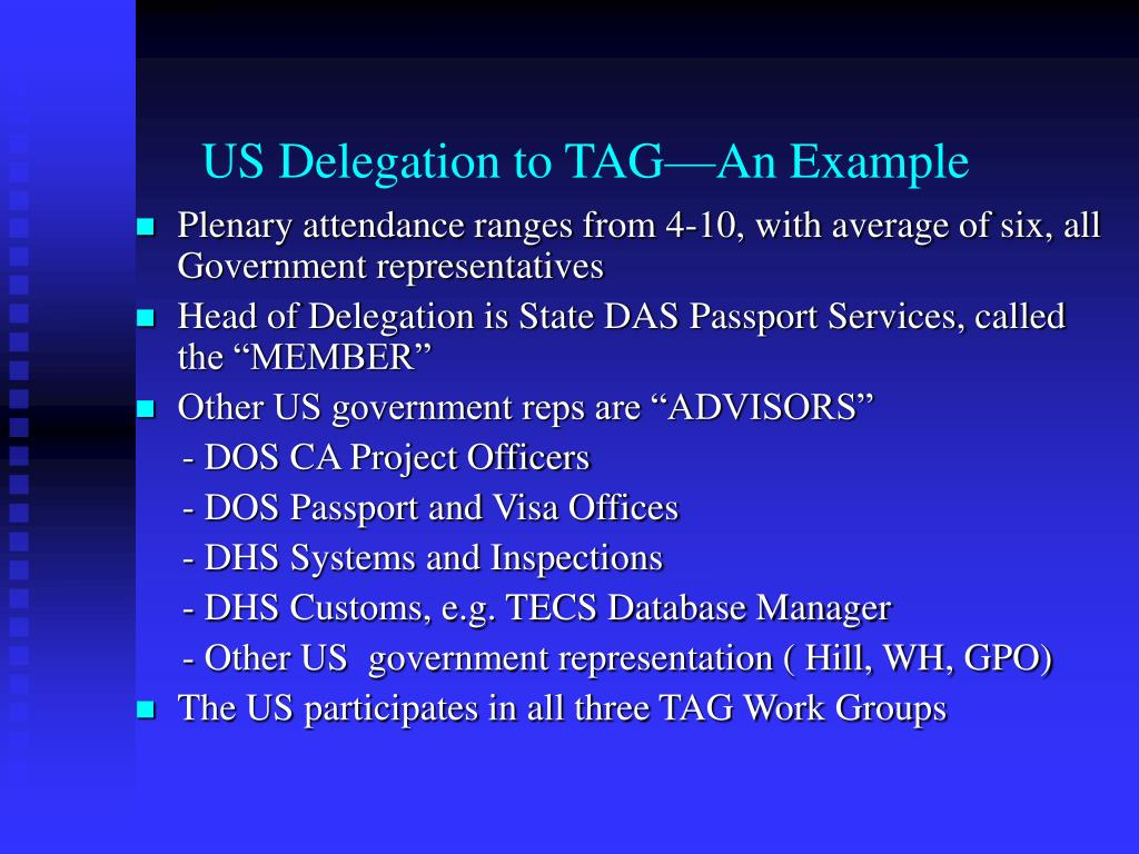 US Delegation to TAG—An Example