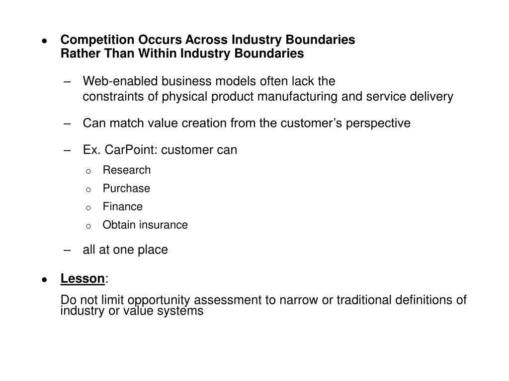 Competition Occurs Across Industry Boundaries