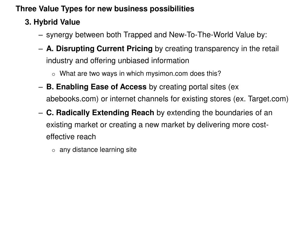 Three Value Types for new business possibilities