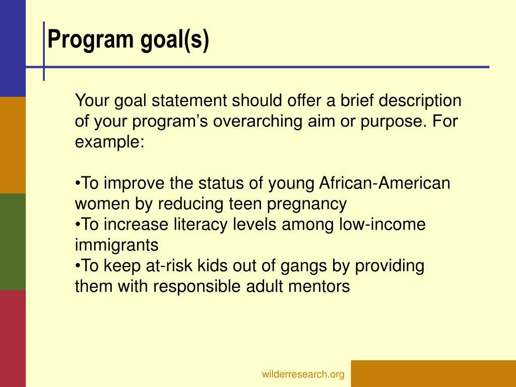 Program goal(s)