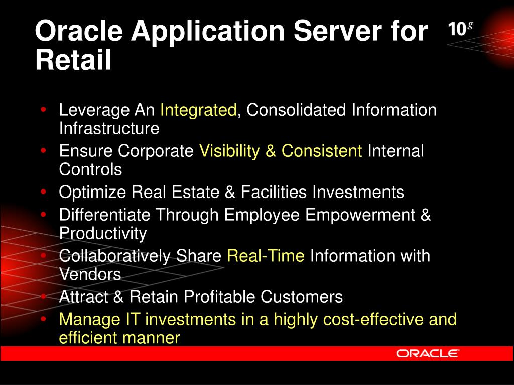 Oracle Application Server for Retail