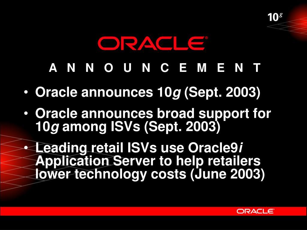 Oracle announces 10