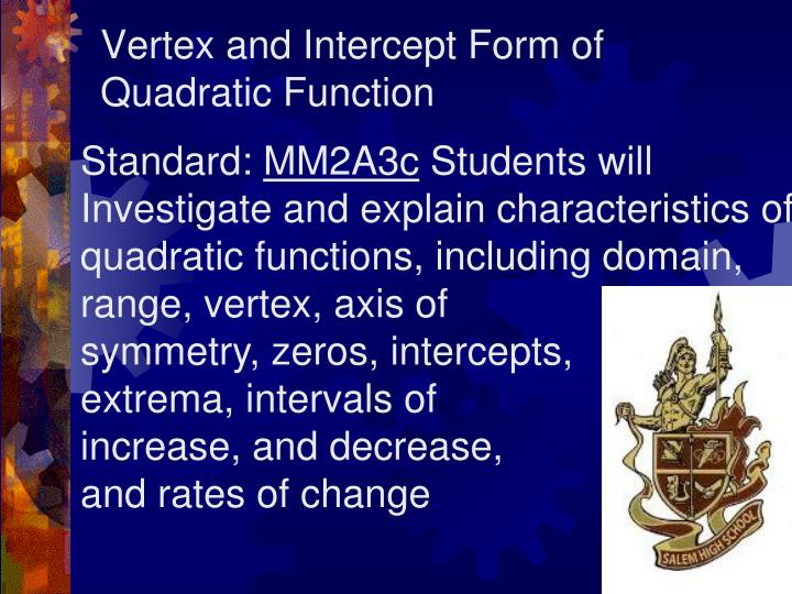 Vertex and intercept form of quadratic function