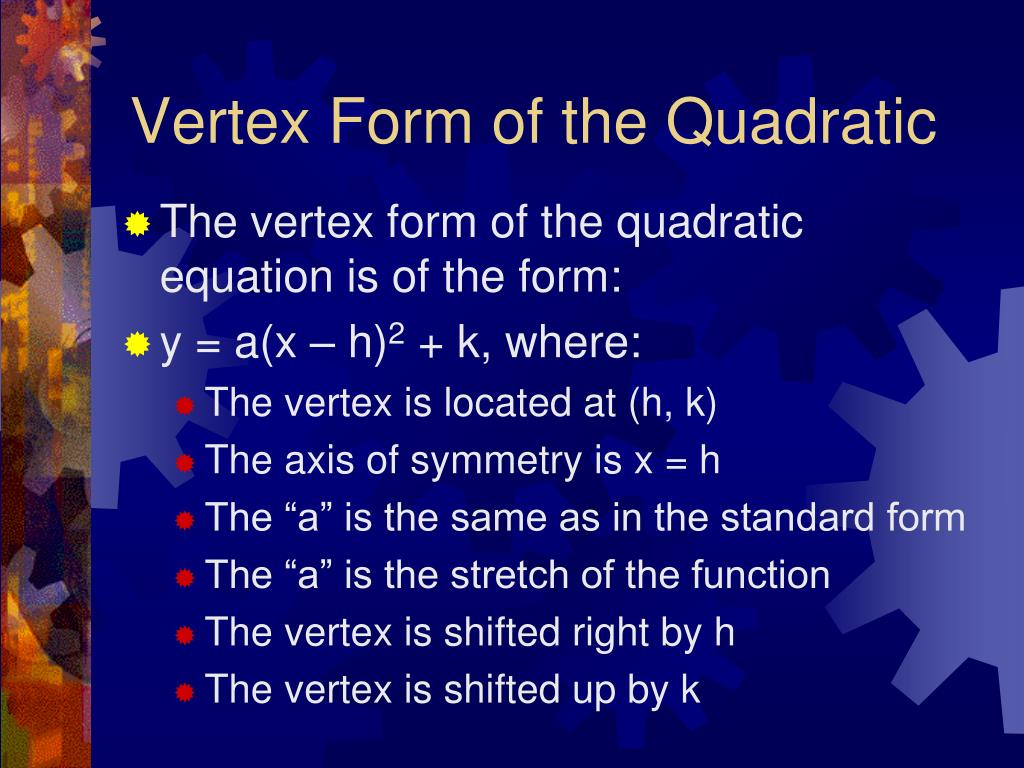 Vertex Form of the Quadratic