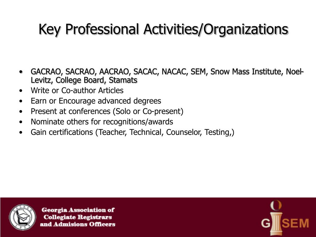 Key Professional Activities/Organizations