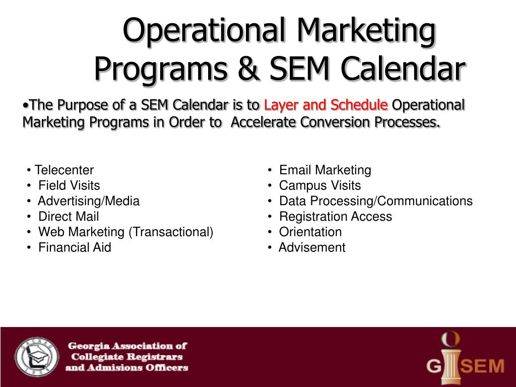 Operational Marketing Programs & SEM Calendar