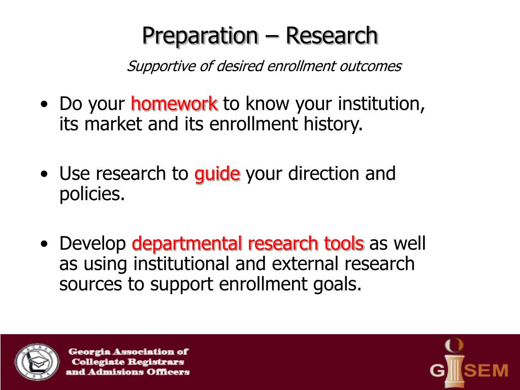 Preparation – Research