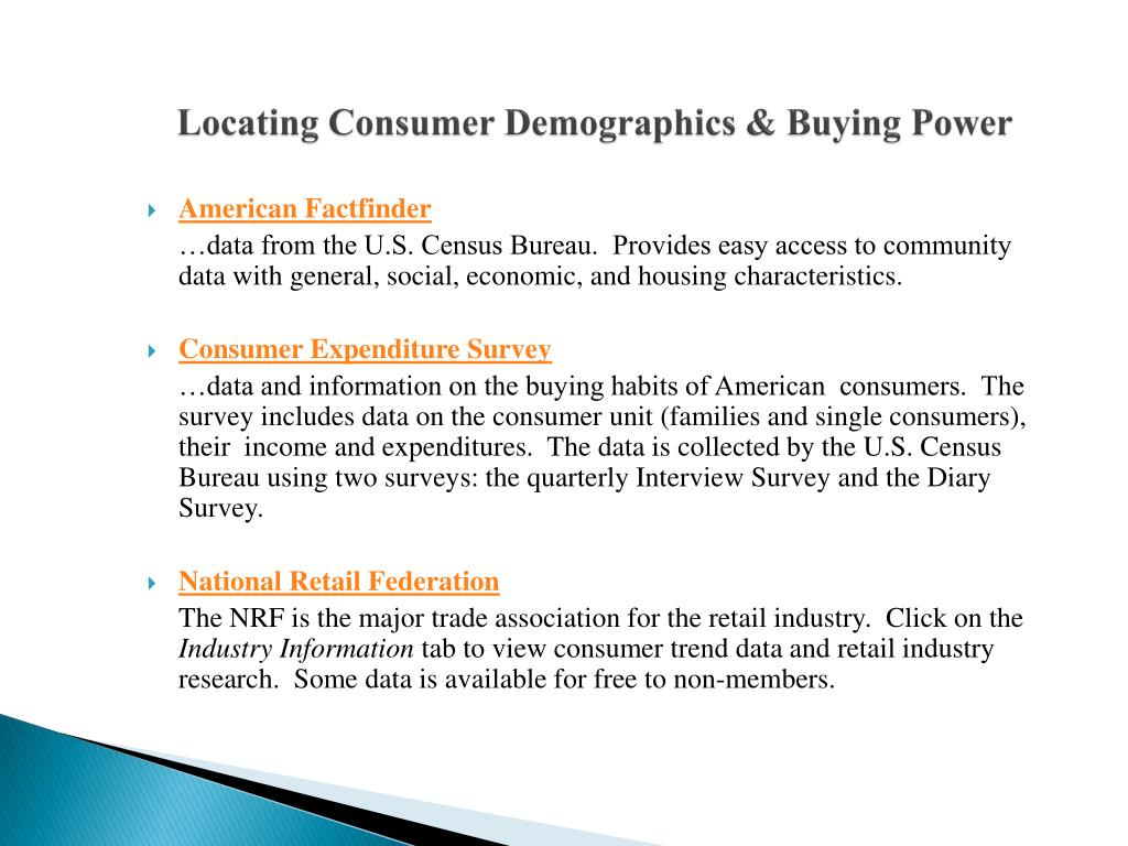 Locating Consumer Demographics & Buying Power