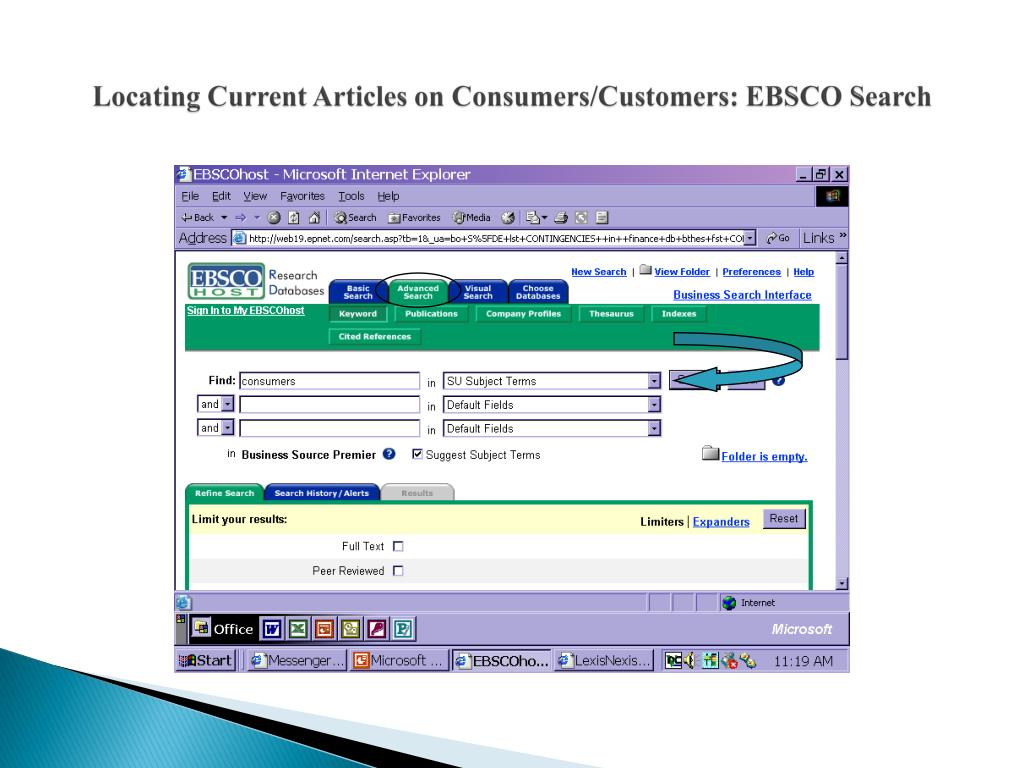 Locating Current Articles on Consumers/Customers: EBSCO Search