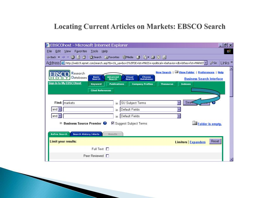 Locating Current Articles on Markets: EBSCO Search