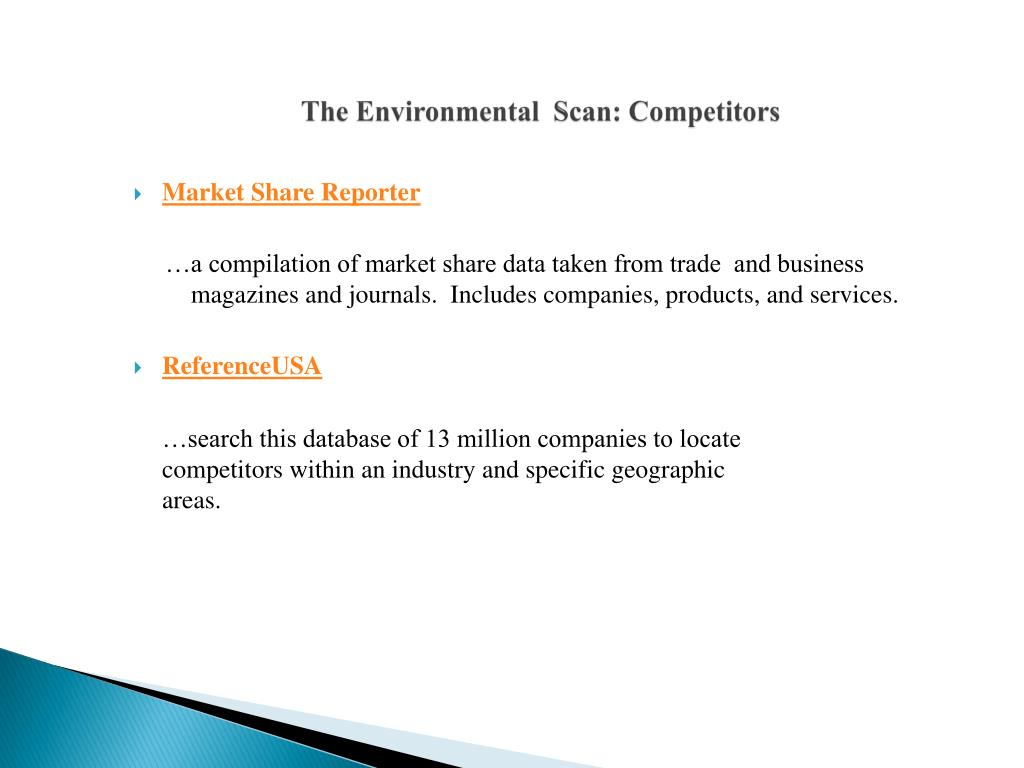 The Environmental  Scan: Competitors