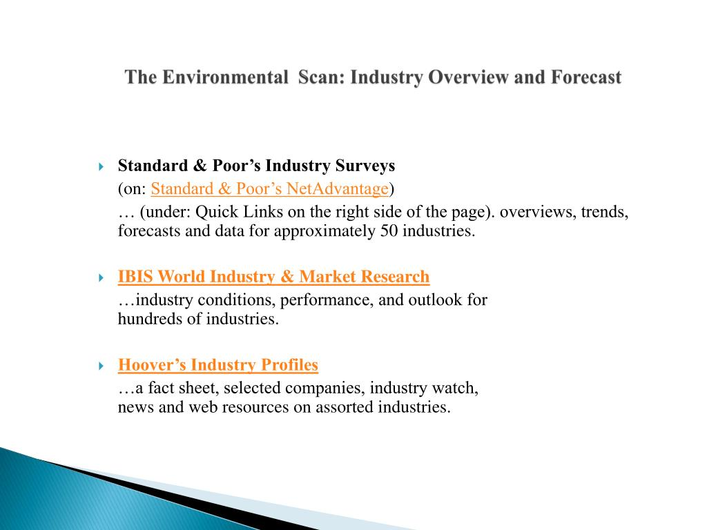 The Environmental  Scan: Industry Overview and Forecast