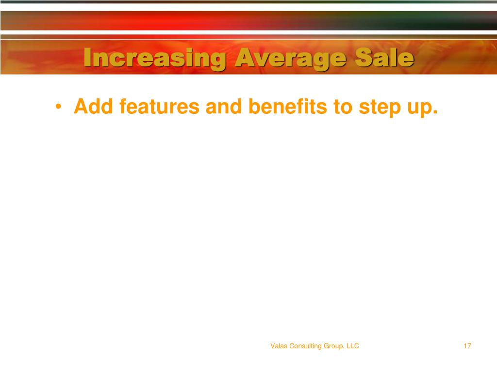 Increasing Average Sale