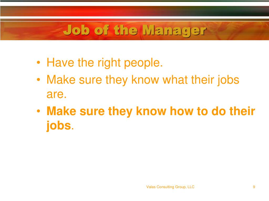 Job of the Manager
