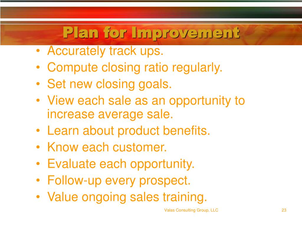 Plan for Improvement