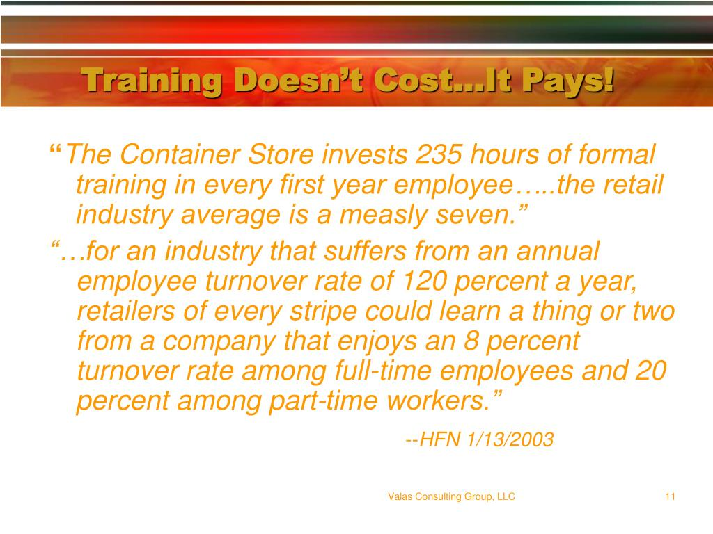 Training Doesn't Cost…It Pays!