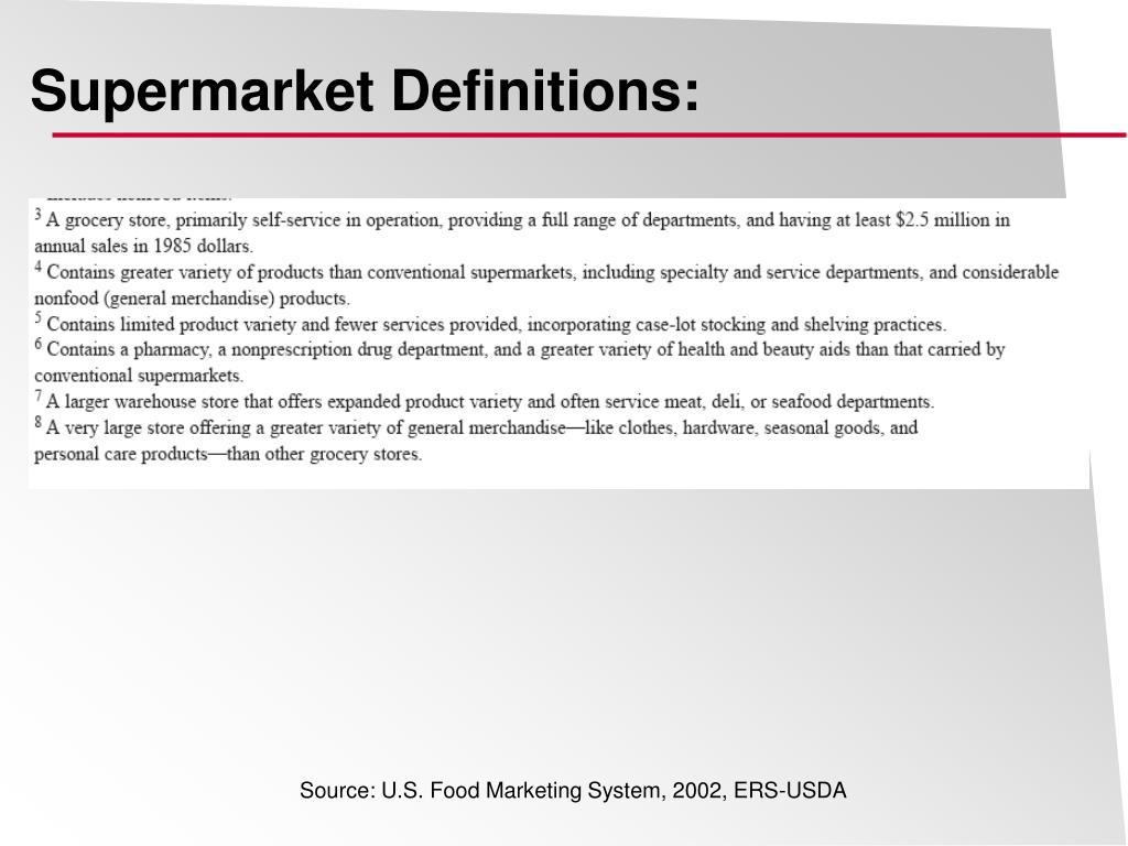 Supermarket Definitions: