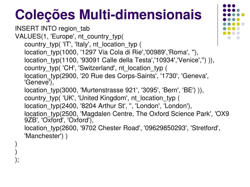 Coleções Multi-dimensionais