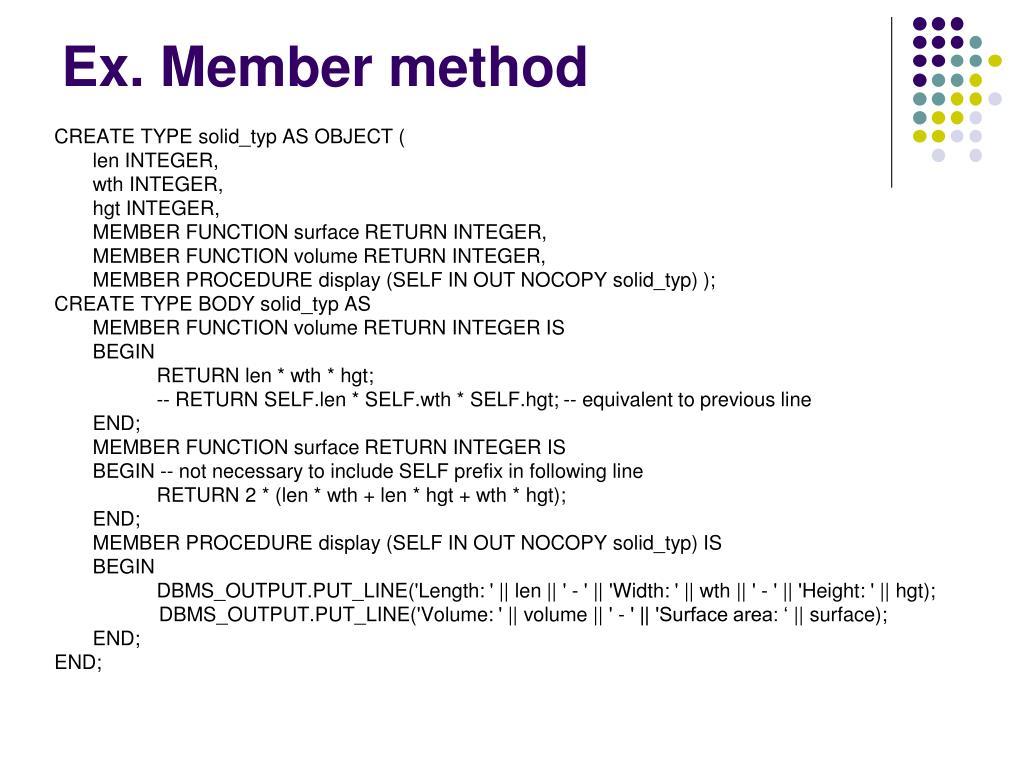 Ex. Member method