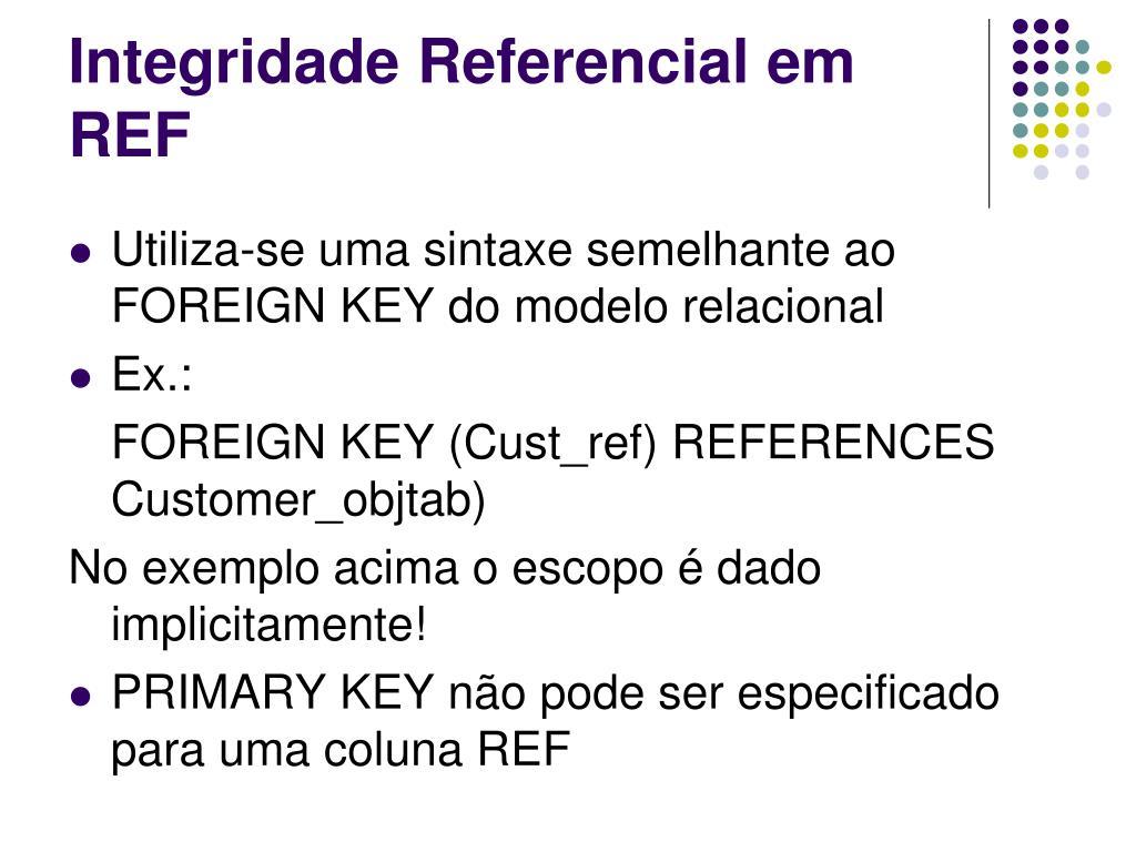 Integridade Referencial em REF