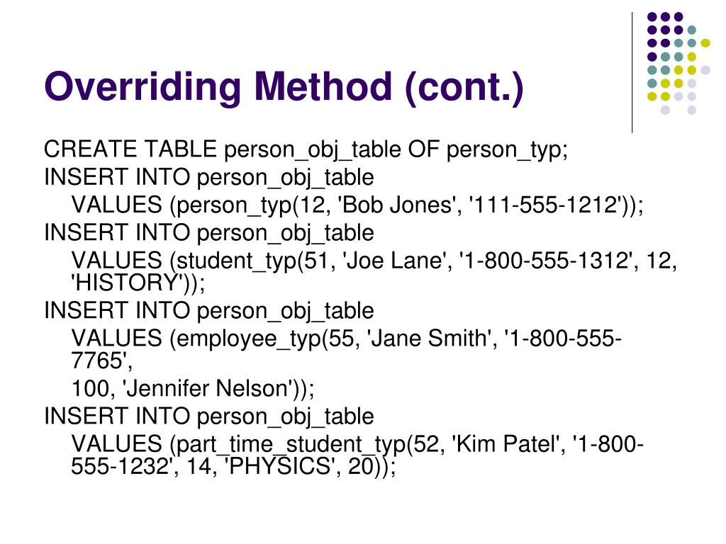 Overriding Method (cont.)