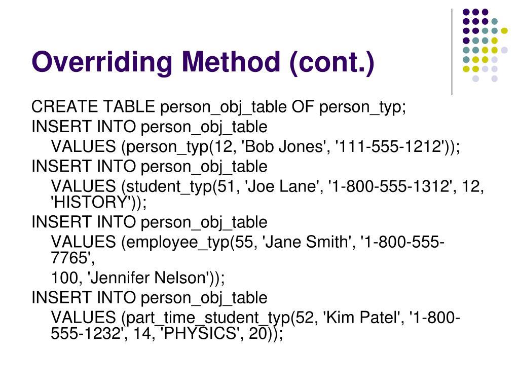 Overriding Method (cont.)