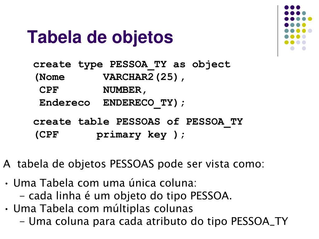 Tabela de objetos