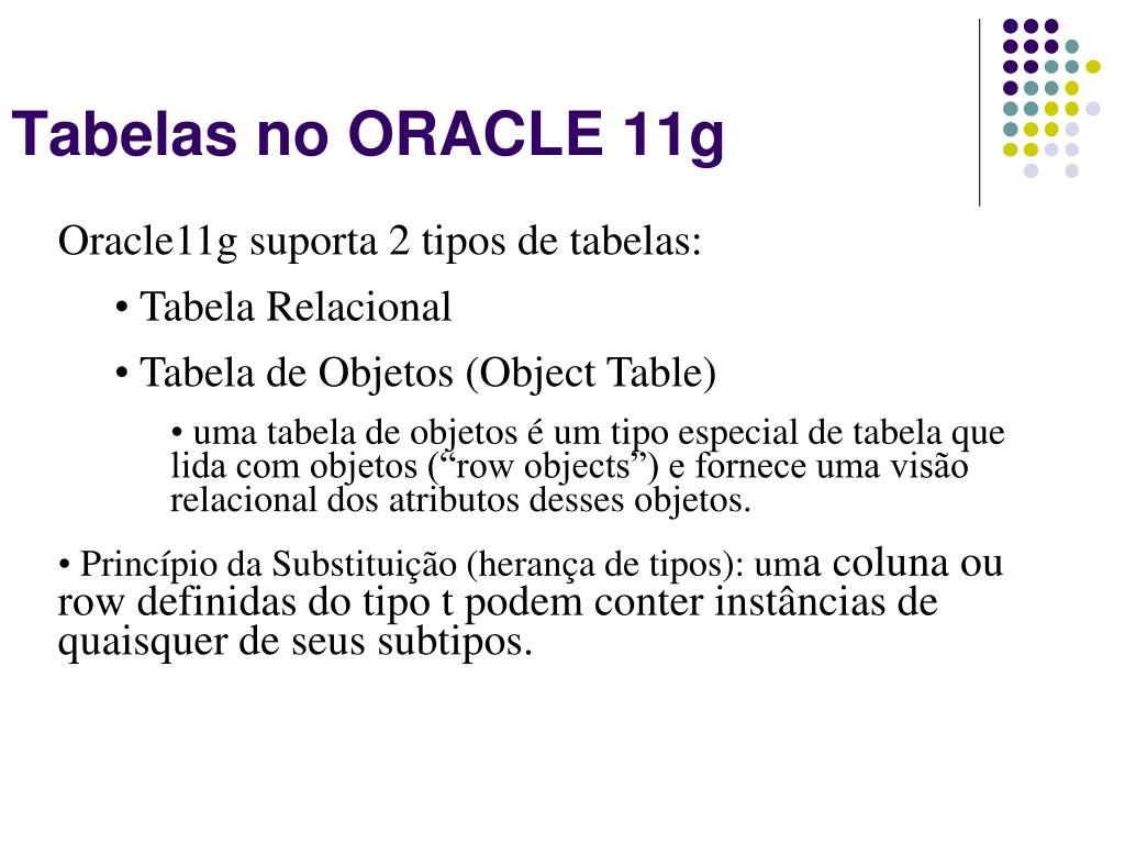 Tabelas no ORACLE 11g