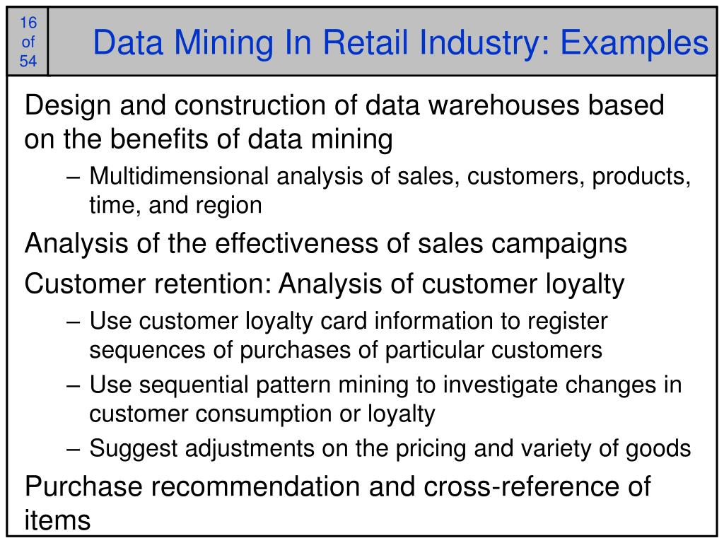Data Mining In Retail Industry: Examples
