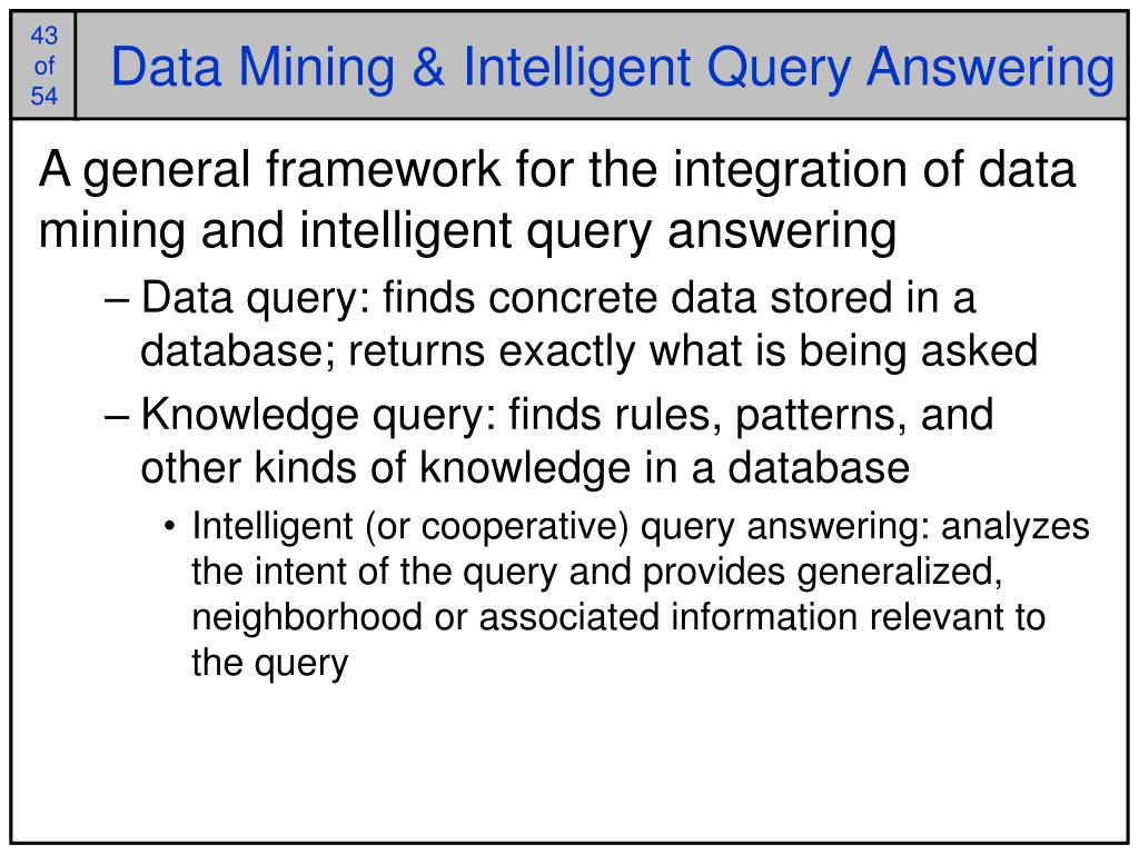 Data Mining & Intelligent Query Answering