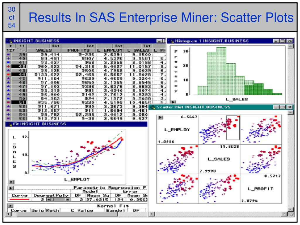 Results In SAS Enterprise Miner: Scatter Plots