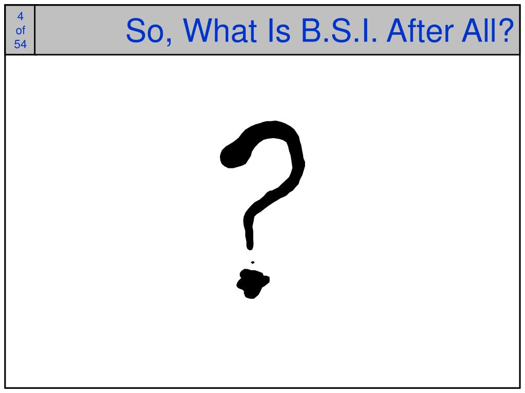 So, What Is B.S.I. After All?