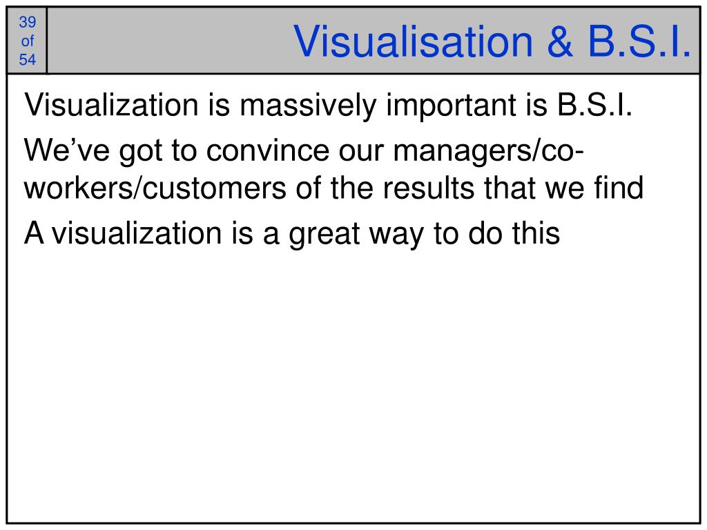 Visualisation & B.S.I.