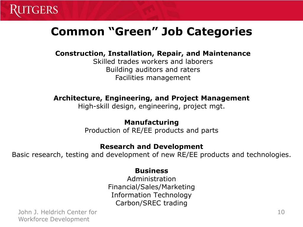 """Common """"Green"""" Job Categories"""