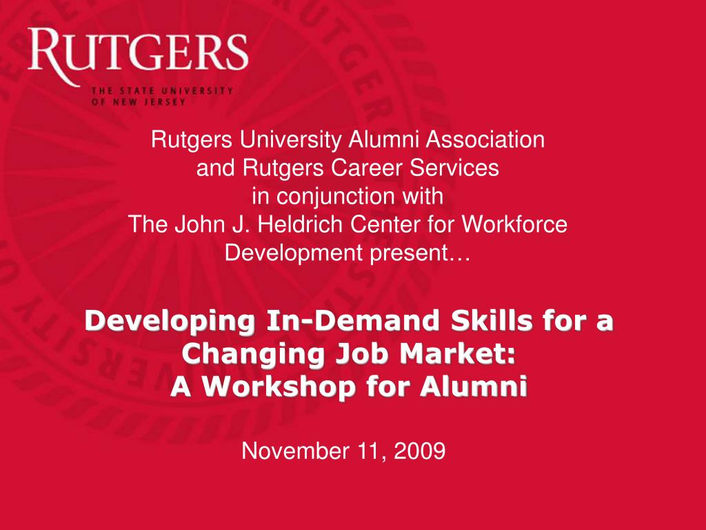 developing in demand skills for a changing job market a workshop for alumni