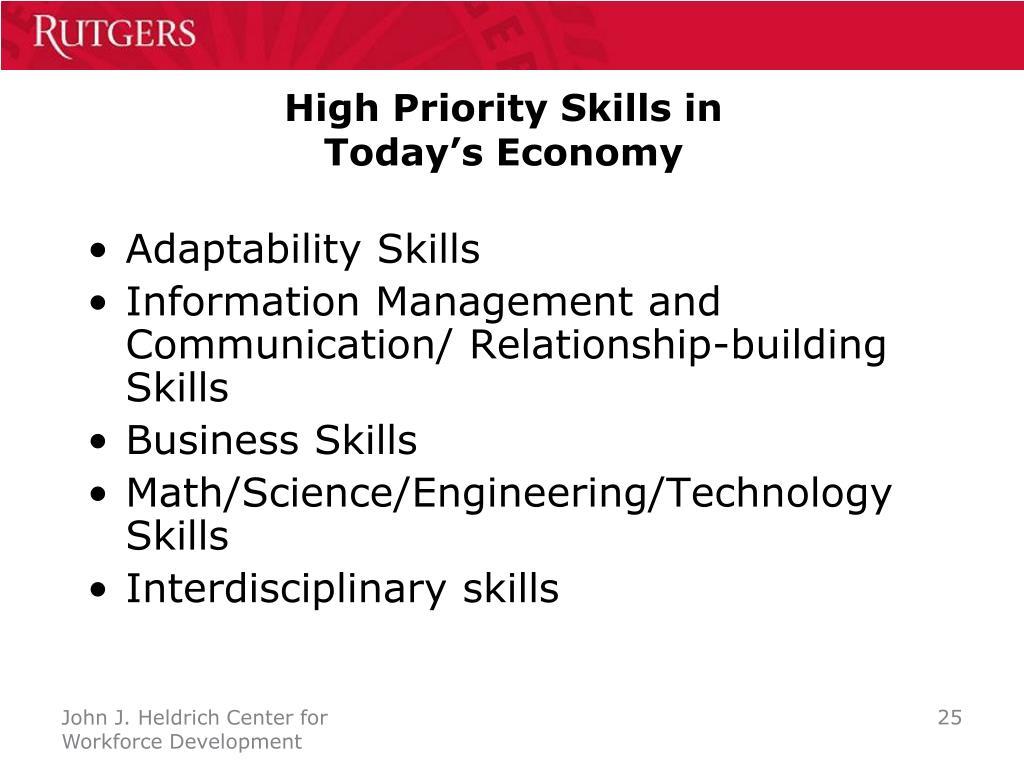 High Priority Skills