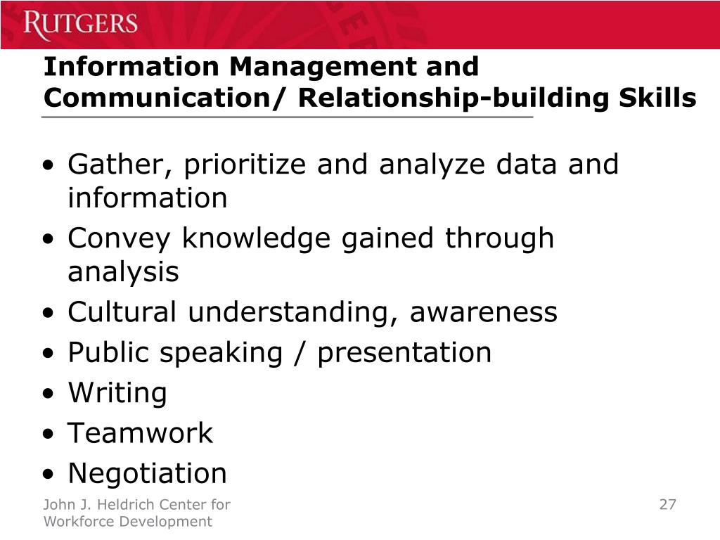 Information Management and Communication/ Relationship-building Skills