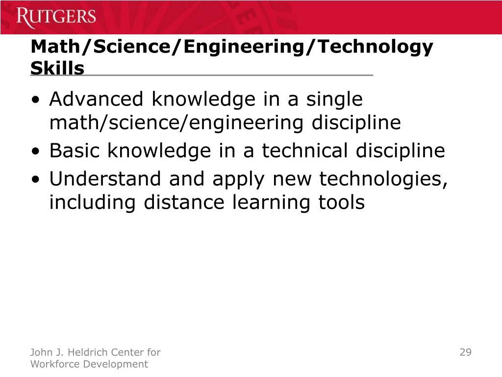 Math/Science/Engineering/Technology Skills